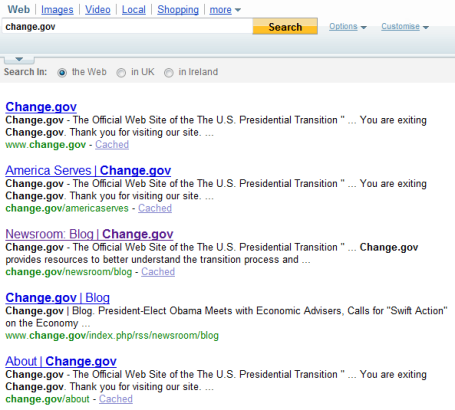 Change.gov results in Yahoo 10 Nov 08